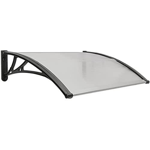 PrimeMatik - Tejadillo de protección 80x60 cm Gris Oscuro. Marquesina para Puertas y Ventanas con Soporte Negro
