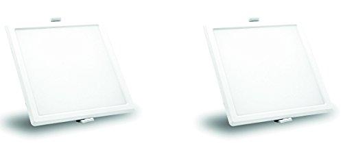 Syska SSK-RDL-S 12-Watt LED Slim Recessed Panel Light (Pack of 2, Cool White, Square)