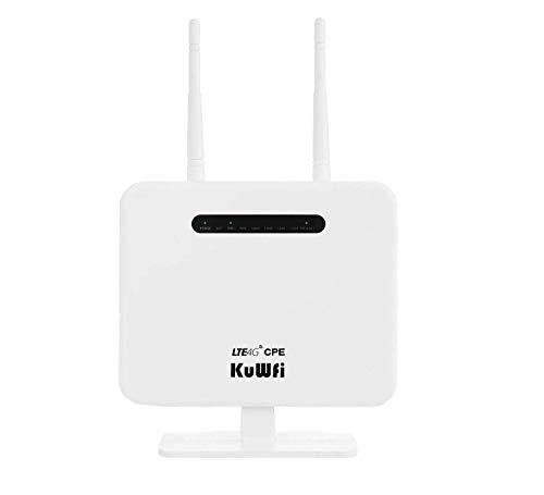 Router 4G LTE, 300Mbps 4G LTE CPE Desbloqueado con Ranura para Tarjeta SIM, Dos Antenas externas 4 LAN LAN versión de Puerto de la UE para 32 usuarios Trabajar con Yoigo/Movistar/Orange/Vodafone