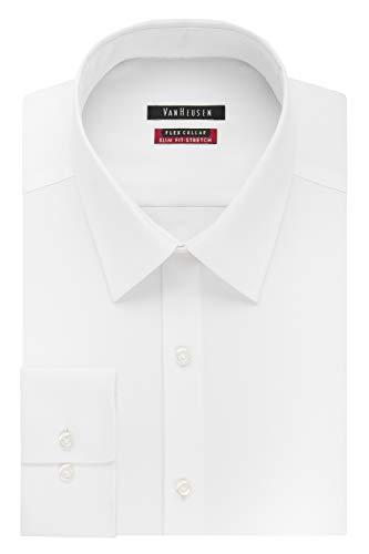 Van Heusen Men's Dress Shirt Slim Fit Flex Collar Stretch Solid, White, 16' Neck 32'-33' Sleeve (Large)