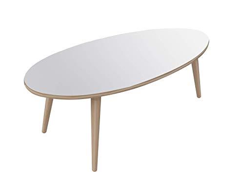 Movian, tavolino ovale da caff in stile moderno, modello Adour, 55 x 110 x 39 cm, colore bianco