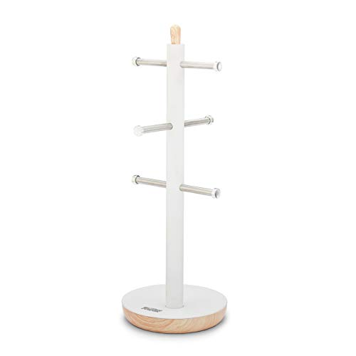 Tower T826032G - Tazza da cucina con albero Scandi, braccio in acciaio inox, base antiscivolo, opaco con accenti effetto legno, bianco, taglia unica