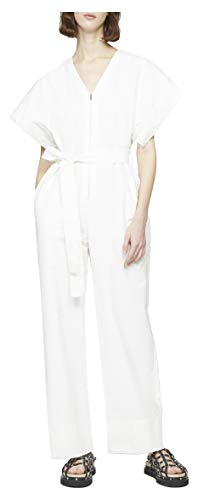 21yVi3iXyPL V-neck utility jumpsuit with wide structured short sleeves. Features a front zip closure, self-tie waist belt and side slip pockets. Straight leg. Model is 5'11 (180cm) wearing a US size 2 Professional dry clean only