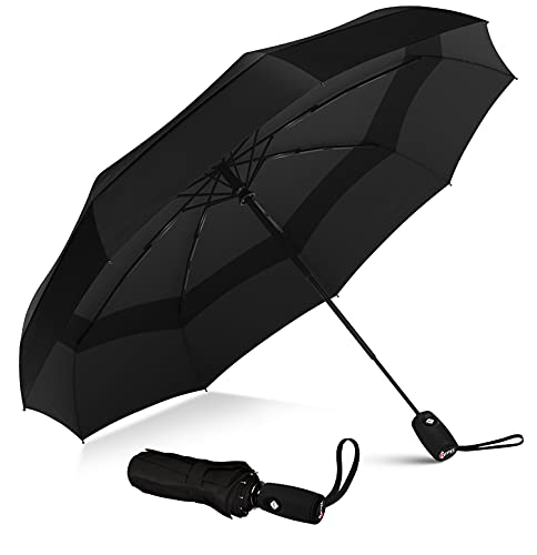 Repel Umbrella Windproof Travel Umbrella – Compact, Light, Automatic, Strong and Portable – Wind Resistant, Small Folding Backpack Umbrella for Rain – Men and Women