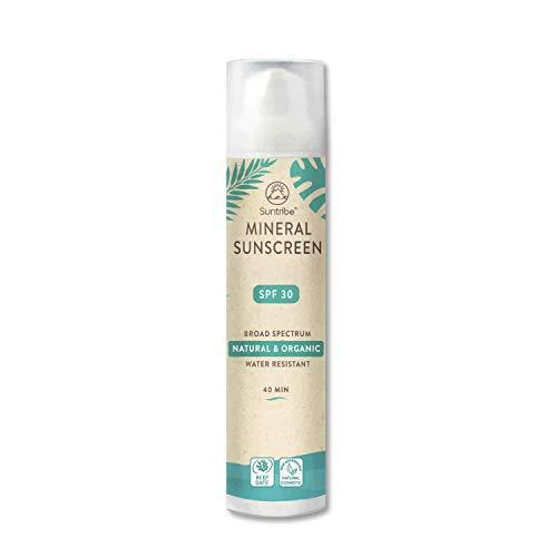Suntribe Organic Sunscreen | SPF 30 | Lichaam en gezicht | 100% zink | Reef Friendly | Waterdicht