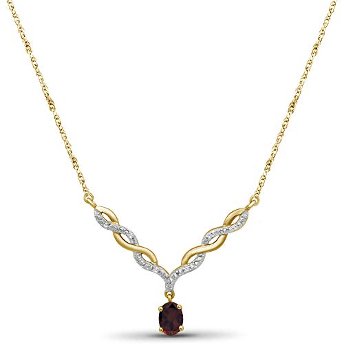 JEWELEXCESS 14k Gold Plated Gemstone Necklace for Women &...