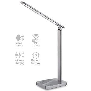 【New Version】Smart LED Desk Lamp with WiFi, Wireless Charger Eye Caring Desk Light 3 Color Modes 6 Brightness Levels Timer Memory Function USB Compatible for Alexa Echo Dot Google Home, Space Gray