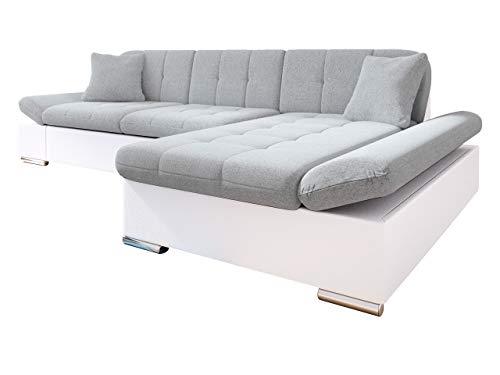 Mirjan24 Ecksofa Malwi mit Regulierbare Armlehnen Design Eckcouch mit Schlaffunktion und Bettkasten, L-Form Sofa vom Hersteller, Couch Wohnlandschaft (Soft 017 + Bristol 2460, Ecksofa: Rechts)