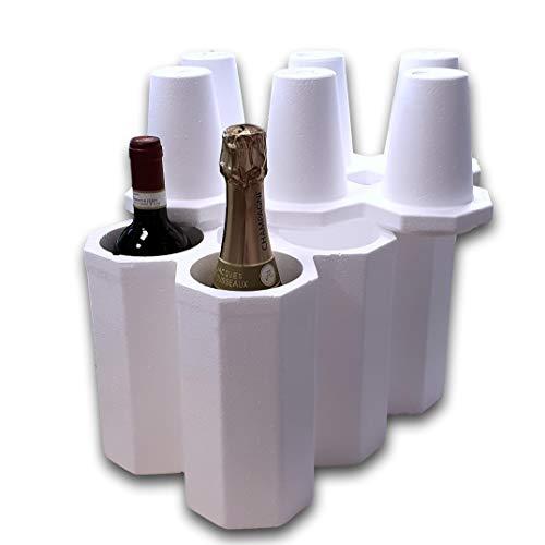 IMBALLAGGI 2000 Kit Portabottiglie Vino in Polistirolo con Scatola di Cartone (5)