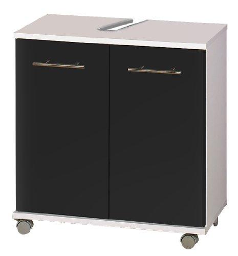 lifestyle4living Waschbeckenschrank in Anthrazit, Glanz | Badezimmerschrank auf Rollen mit 2 Türen und 1 Einlegeboden