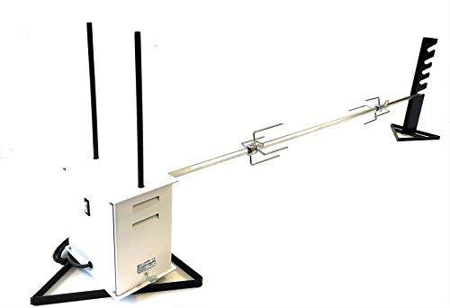 Girarrosto Professionale ALLEGRI Elettrico Gigante PORTATA MAX 40 KG Spiedo ACCIAIO INOX sezione Esagonale ANTIFLESSIONE spessore 16 mm lunghezza cm 140 con coppia fermacarne 4 punte INOX