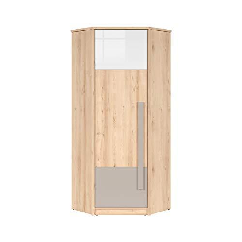 SMARTBett NAMECK Armadio guardaroba angolare 1 anta in finto legno di faggio/bianco lucido/grigio