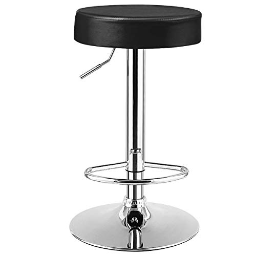 COSTWAY Bar Stool, Modern Swivel Backless Round Barstool, PU Leather Armless bar Chair with Height Adjustable, Chrome Footrest, Sturdy Metal Frame for Kitchen Dining Living Bistro Pub (Black, 1 pc)