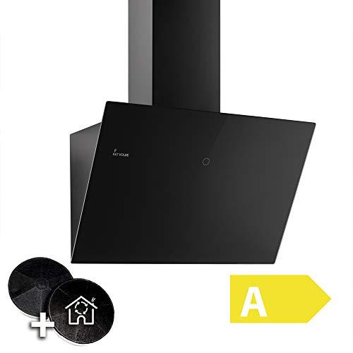 Cappa aspirante da cucina (60 cm, acciaio inox, vetro nero, 612m/h, 3 passi, illuminazione a LED,...