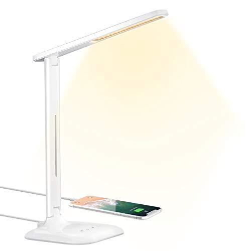 Schreibtischlampe TOPELEK 10W LED Tischlampe mit USB-Ladeanschluss, 5 Farbtemperaturen & 5 Helligkeitsstufen, Touch-Steuerung für Lesen, Arbeiten, Malen, Schlafen, Weiß