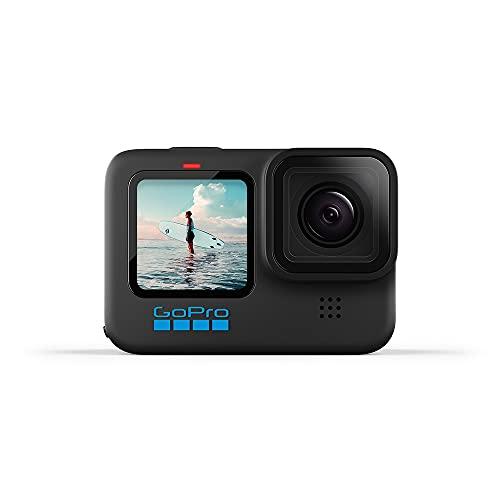 GoPro HERO10 Black - Action Camera impermeabile con LCD anteriore e schermi posteriori touch, video Ultra HD 5.3K60, foto da 23 MP, streaming live 1080p, webcam, stabilizzazione