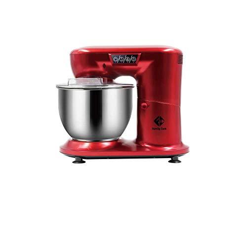 Family Care - Robot da cucina, impastatrice, 1000 W di potenza, acciaio inox, Colore rosso