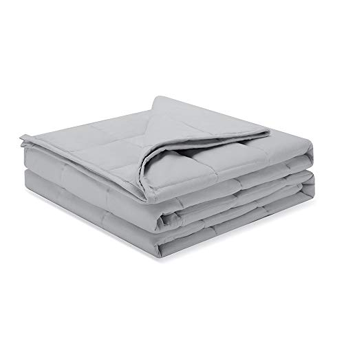 Weighted Idea Weighted Blanket 15 lbs 48''x78'' for Adult Woman and Man (100% Natural Cotton, Light Grey)