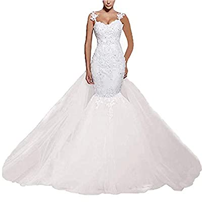 Material: Tulle&Lace&beads;Built in Bra,zipper or Lace-Up,Spagentti straps mermaid wedding dresses bridal gowns,plus size wedding dresses Customized Sizes And Colors And Styles Are Also Available, Please Send Us Your Detail Size: Bust, Waist, Hips an...