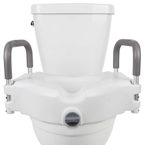 Vive Raised Toilet Seat - 5' Portable, Elevated Riser with Padded Handles - Elongated and Standard Fit Commode Lifter - Bathroom Safety Extender Assists Disabled, Elderly, Seniors, Handicapped (1)