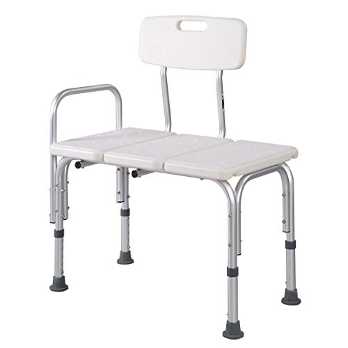 MedMobile Bathtub Transfer Bench/Bath Chair with Back, Wide SEAT, Adjustable SEAT Height, Sure-GRIPED Legs, Lightweight, Durable, Rust-Resistant Shower Bench