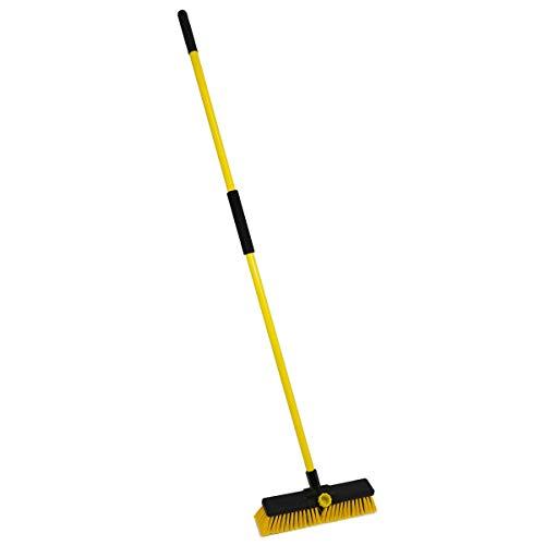 "Charles Bentley 14"" Bulldozer Yard Broom Sweeper Heavy Duty with Metal 2 Part Handle"