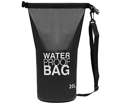 SiaMed Trockentasche schwarz 20L – Version 2.0 - Wasserdichter Dry-Bag Seesack Outdoor – Trockenbeutel mit Karabiner und Tragegurt