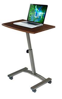 Seville Classics 23.6' Solid-Top Height Adjustable Mobile Laptop Desk Cart (20.5' to 33' H) Ergonomic Table, Walnut