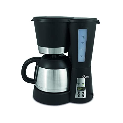 SUNTEC Filter-Kaffeemaschine mit Thermoskanne 1 Liter Füllmenge 8-10 Tassen Edelstahl Schwarz | Coffee Machine Timer-Funktion Anti-Tropf Funktion | KAM-9004