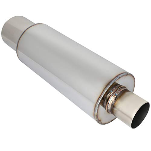 Universal Exhaust Mufflers, 4'oulet 2.5' Inlet Stainless Steel,Absorbing Sound Waves 2.5'x4'x19'