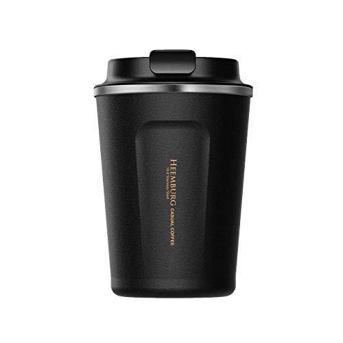 Heemburg Kaffeebecher für unterwegs Coffee to go Thermobecher schwarz 350 ml aus Edelstahl mit Doppelwand Isolierung 100{b05b22f6059300c1459d056eebac46cc02b746fe19fd4393ce22885401ae56bd} auslaufsicher Thermo für Kaffee oder Tee