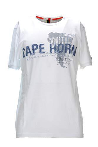 cape horn T-Shirt Uomo Bianco Blu Mezza Manica L