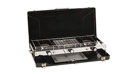 Outwell Portable Stove Appetizer Trio| 2 x 1500W Burner and 1500W Grill| Connects To An LGP Gas Cylinder| Great For BBQ's/Camping|Black