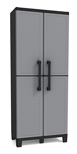 Keter Storage Cabinet with Doors and Shelves - Perfect for Garage and Basement Organization, Grey