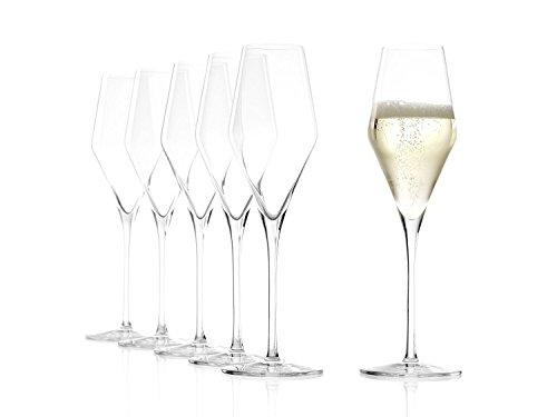 Bicchieri da champagne Stölzle Lausitz Quatrophil 290 ml, set da 6, come soffiati a mano, resistenti ai lavaggi in lavastoviglie