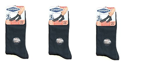 POMPEA 6 paia calze microfibra corta (L-XL, NERO)