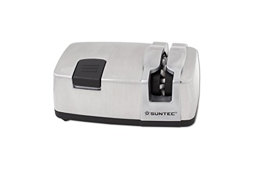 SUNTEC Messerschärfer MES-9967 [Für Stahl-Messer, 20 Keramikpolierstifte, 40 Schärfewinkel, 330 U/min, max. 40 Watt]