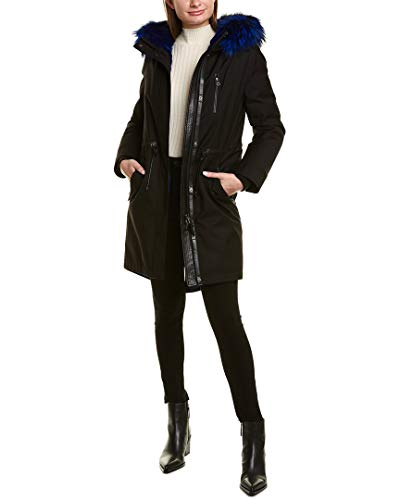 31 tk SOLjL About the brand: Elevated outerwear. Unique functionality. Rena XR Leather-Trim Parka in black and blue with hooded back, removable fur trim, fur lining, zippered left chest pocket, four front pockets, inner knit cuffs, zippered interior pockets, drawcord at Approximately 34in from shoulder to hem