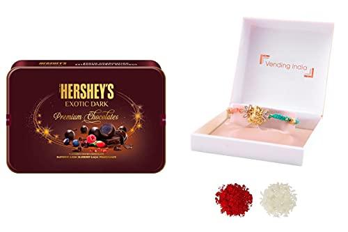 Hershey's X Vending India Exotic Dark Tin Chocolate Gift Box,192g with A Luxury Rakhi in a Box