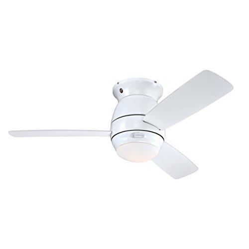 72180 Ventilatore da soffitto bianco per interni da 112 cm Halley, kit di luce con vetro smerigliato opale