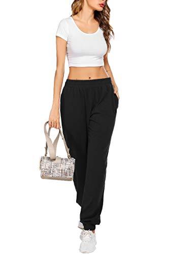 coorun Yoga Jogger for Women Workout Pants Oversized Lounge Trousers Casual Pants Classic Sweatpants Black 5