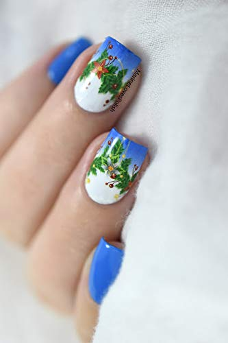 Whats Up Nails - P047 Poinsettia Garland Water Decals Sliders for Christmas Nail Art Design