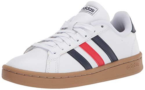 adidas mens Grand Court Tennis Shoe, White/Trace Blue/Active Red,...