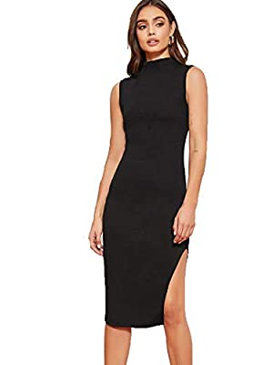 Fabric has non stretch but comfortable Features: mock neck, high neck, sleeveless, tank top, knee length, split thigh, bodycon midi dress Occasions: great for daily life wear, work, dating, street, party, vacation, holiday, beach, travel Machine or h...