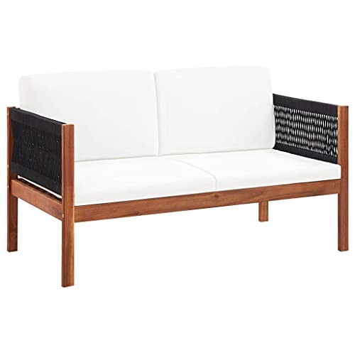 vidaXL Massello d'Acacia Divano da Giardino a 2 Posti Moderno Elegante Robusto con Cuscini Imbottiti Panchina per Esterni Sofa Naturale e Nero