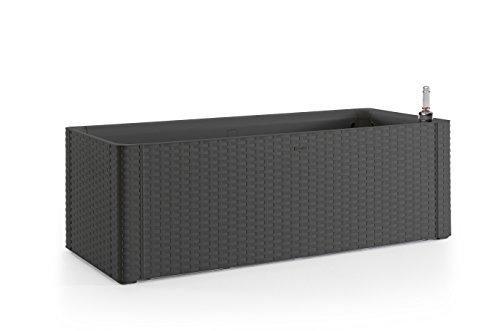 Kreher XL Pflanzkasten rechteckig im Rattan-Design aus Kunststoff in Anthrazit. Mit Wasserspeicher und Wasserstandsanzeige, Maße BxTxH 100 x 43 x 33 cm.