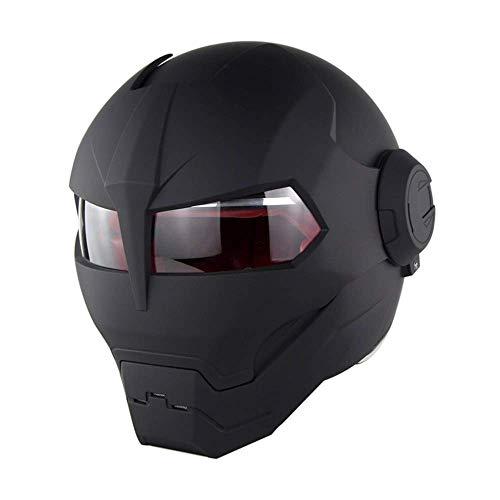 ZOLOP Motorrad-Integralhelm, DOT-Zulassung, Iron Man Transformers Harley-Flip-Helm im Retro-Stil (XL, Mattschwarz)