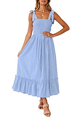 Size Attention: S=US 4-6, M=US 8-10, L=US 12-14, XL=16. If you want a loose style, you can choose one size up!! Bohemian dress features a straight neckline, tie-up ribbon straps, pretty floral print, shirred and stretchy bodice, perfect ankle length,...