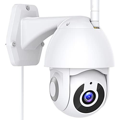 1296P Telecamera Wi-Fi Interno / Esterno, Telecamera di Sorveglianza Panoramica 360°, Visione Notturna, Tracciamento Movimento, Audio Bidirezionale, Notifiche in Tempo Reale