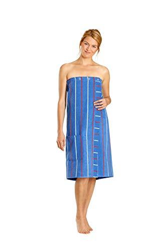 Betz Damen Saunakilt mit Knöpfen 100{f6e0e0ff5cea1d79744e619d4fc3bdb1b7f41efd51eb387242f9bf1e120b2d05} Baumwoll-Frottee Farbe blau gestreift